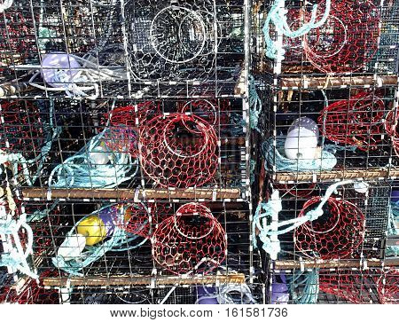 Several fish cages make a lobster trap background