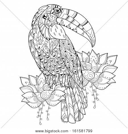 Stylized tropical bird of paradise.Hand drawn vector illustration. Sketch for tattoo or makhenda or adult relax anti stress coloring book. Bird collection boho style.