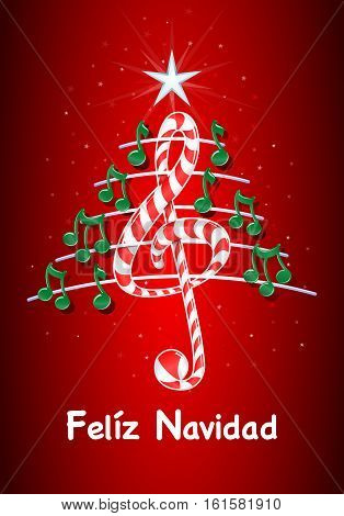 Christmas tree made of green musical notes, candy bar shaped treble clef and pentagram with title: FELIZ NAVIDAD -MERRY CHRISTMAS in spanish language- on starry red background - Vector image