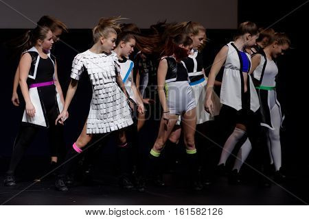 ST. PETERSBURG, RUSSIA - OCTOBER 28, 2016: Show ballet Ice Cream performing in the International festival-contest of vocal and choreographic art Autumn Transformation