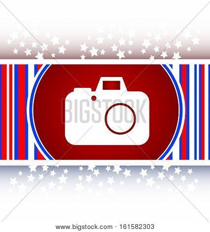 white camera web button icon, red and white