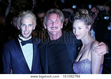 Director Sean Penn (C), his son Hopper Penn (L) and daughter, Dylan Penn (R) attend 'The Last Face' Premiere during the 69th Cannes Film Festival at the Palais on May 20, 2016 in Cannes, France.