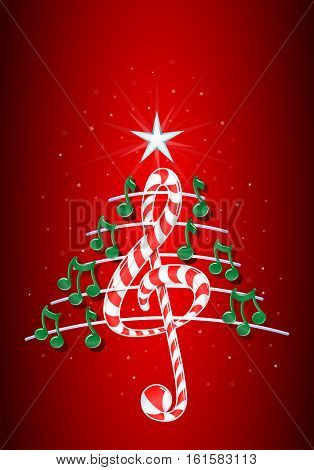 Christmas tree made of green musical notes, candy bar shaped treble clef and pentagram on red background with stars  - Vector image
