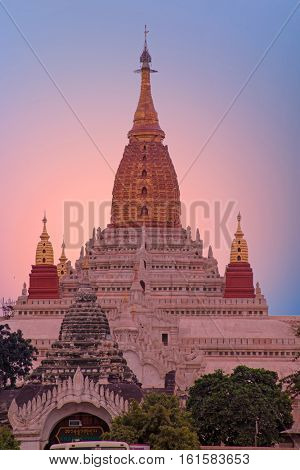 Ananda temple in Bagan, Myanmar at sunset