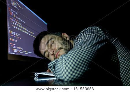 Freelancer Programmer Falling His Face Down Taking A Nap