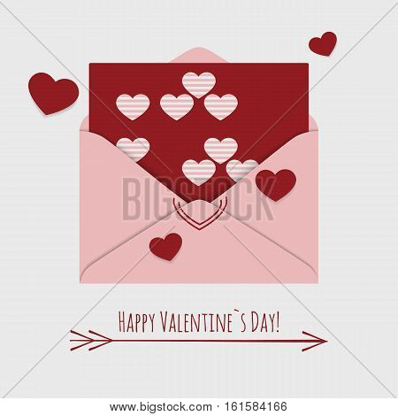 Happy Valentine`s day card with envelope and flying hearts