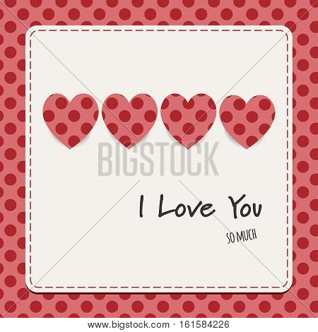 I love you card with hearts and dots background