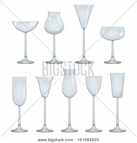 Glasses set for wine. White sparkling and dessert wine collections. Vector EPS10