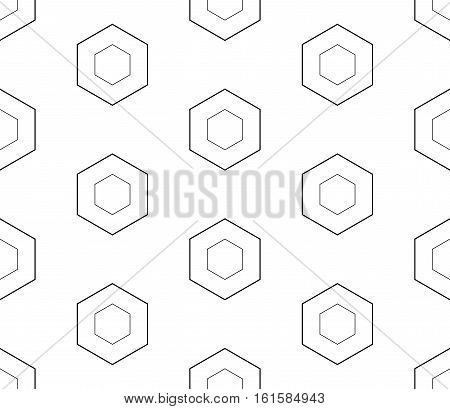 Vector monochrome seamless pattern, black outline hexagons on white background. Subtle geometric texture, thin lines. Modern design for printing, stamping, decoration, digital, web, textile, identity