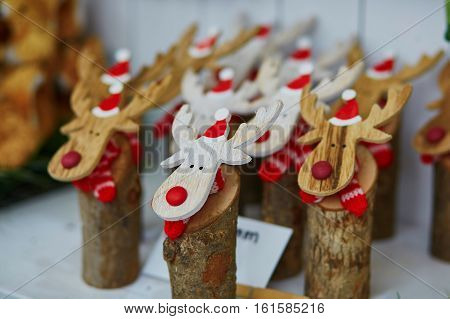 Funny Wooden Moose Deers With Red Noses And Santa Hats