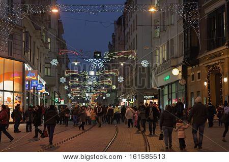 Brno,Czech Republic-December 5,2016: Walking people at Masaryk street at advent time on December 5, 2016 Brno Czech Republic