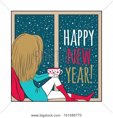 Christmas and New Year card. The girl is sitting on the windowsill looking out the window in the hands of a cup of hot tea or coffee. Winter. Outside the window it s snowing.