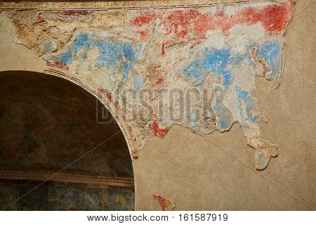 Ancient Color Wall Paintings (frescos) In Pompeii, Italy