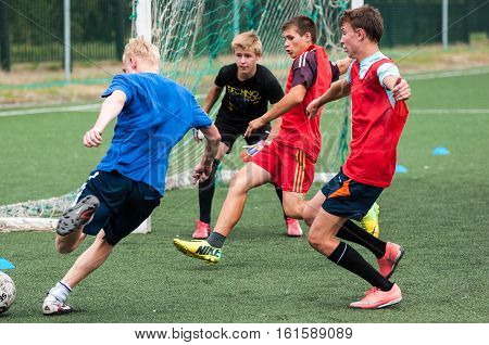 Orenburg, Russia - 9 July 2016: The Boys Play Football