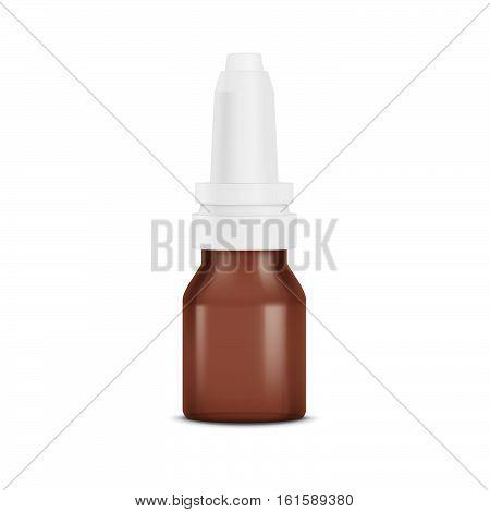 Realistic nasal spray bottle. Eye drops. Mockup bottle with medical drug.