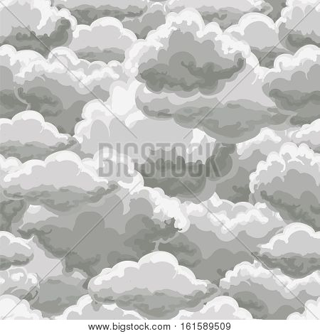 Thunder sky seamless pattern. Rain clouds background vector illustration