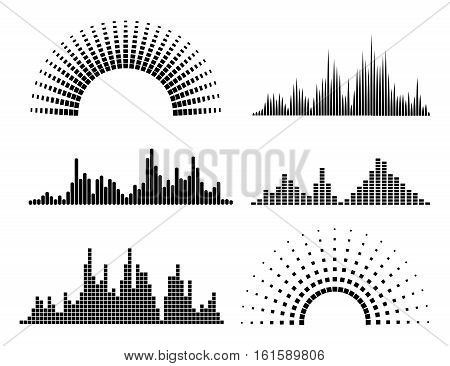 Black music waves forms isolated on white background. Vector illustration