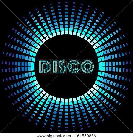 Retro disco background with blue soundwave frame vector illustration