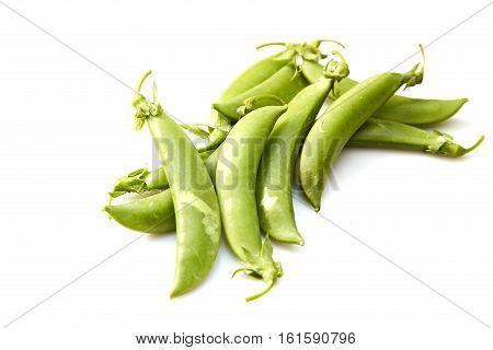 Snow peas isolated over white background green, group, ingredients,