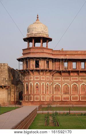 AGRA, INDIA - FEBRUARY 14 : Red Agra Fort in Agra. Uttar Pradesh, UNESCO World heritage site, India on February 14, 2016.