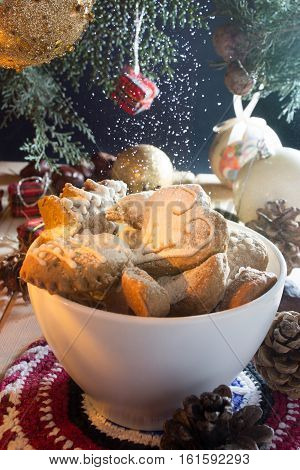Christmas Cookies With Snowing Sugar
