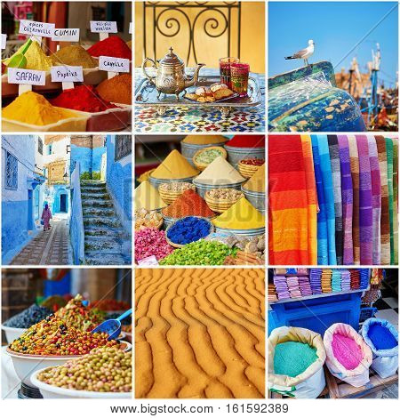 Collage With Colorful Moroccan Photos