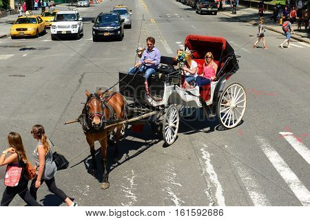 NEW YORK CITY - MAY 26, 2014: Horse drawn carriage tours on Fifth Avenue near Central Park in Midtown Manhattan, New York City, USA.