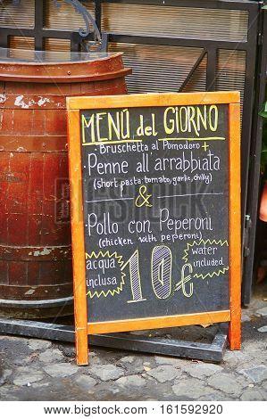 Menu Of The Day Near Restaurant In Rome, Lazio, Italy