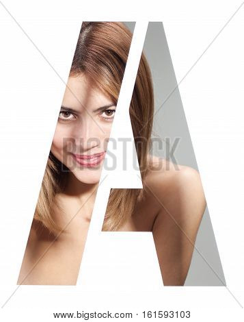 girl portait behind an isolated letter