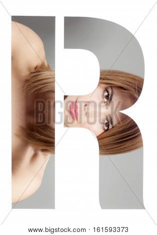 girl portrait behind an isolated letter