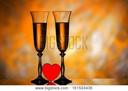 Two glasses of champagne and red heart with golden background