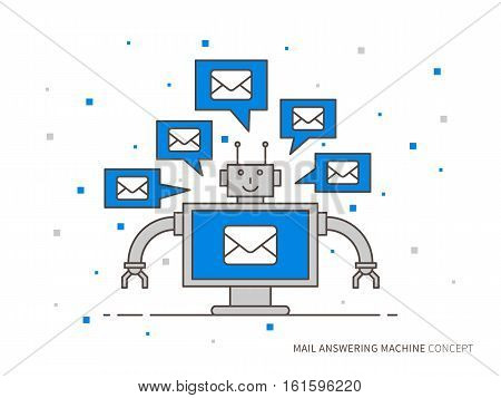 Mail answering machine vector illustration. Mail support technology creative concept. Online automatic operator graphic design. Client assistance helpdesk concept.