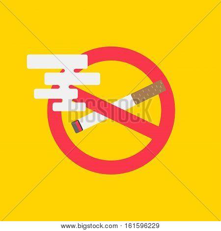 No smoking vector illustration. Cigarette with forbidden symbol creative concept. Stop smoking graphic design.