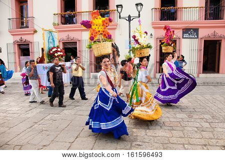 OAXACA, MEXICO-DEC 10, 2015: Day of the Virgin of Guadalupe (Dia de la Virgen de Guadalupe) on Dec 10, 2015 . Oaxaca, Mexico. It is a popular Catholic feastival