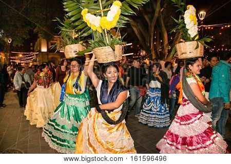 OAXACA, MEXICO-DEC 9, 2015: Day of the Virgin of Guadalupe (Dia de la Virgen de Guadalupe) on Dec 9, 2015 . Oaxaca, Mexico. It is a popular Catholic feastival