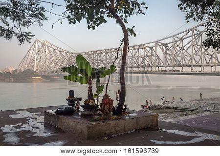 A place of worship at the bank of river Ganges near Howrah bridge at Kolkata, India.
