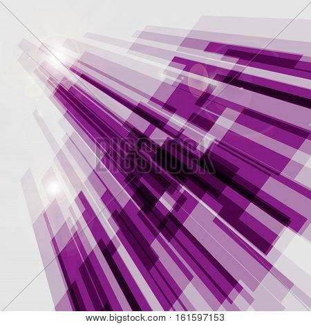 Perspective violet abstract straight lines background, stock vector