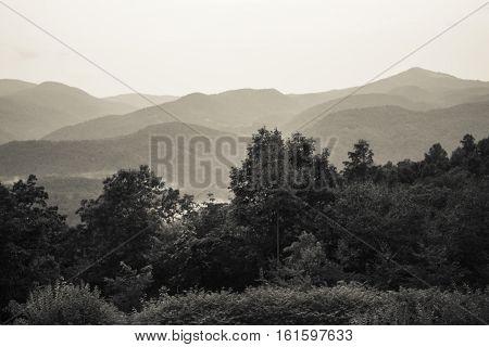 Black and White Image of Blue Ridge Mountains