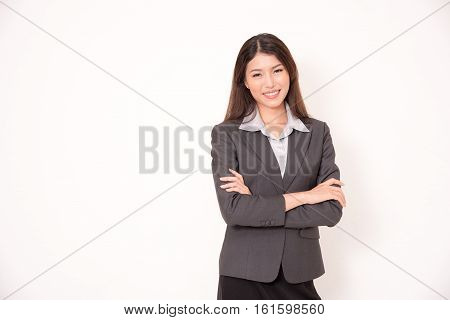 Portrait Of Asian Businesswoman Isolated On White Background.