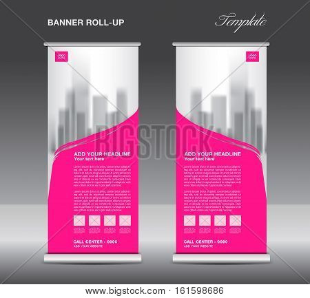 Pink Roll up banner template vector flyer, advertisement, x-banner, poster, pull up design