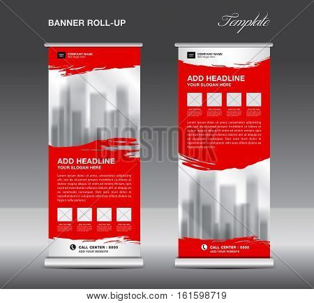 Red Roll up banner template vector flyer, advertisement, x-banner, poster, pull up design