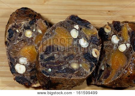 Fruit bread or fruitcake a German and Austrian type of bread made during Christmas time.