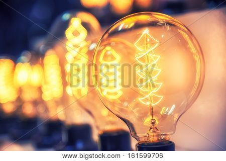 Beautiful Retro Luxury Light Bulb Decor Glowing For Abstract Background. Holiday Or Party Background