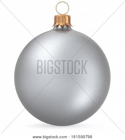 Christmas ball silver white New Year's Eve decoration wintertime hanging sphere adornment souvenir bauble. Traditional ornament happy winter holiday Merry Xmas symbol closeup. 3d illustration isolated