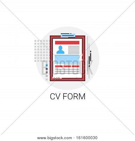 CV From Job Vacancy Recruitment Application Icon Vector Illustration