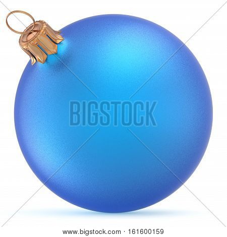 Christmas ball blue wintertime ornament New Year's Eve hanging shiny sphere decoration adornment bauble souvenir. Traditional happy winter holidays Merry Xmas symbol closeup. 3d illustration isolated