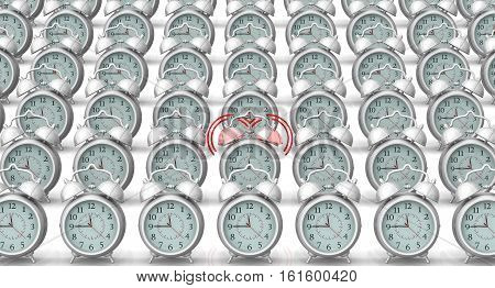 A ringing alarm clock and many non ringing. A ringing alarm clock in row of not ringing on a white surface. Isolated. 3D Illustration
