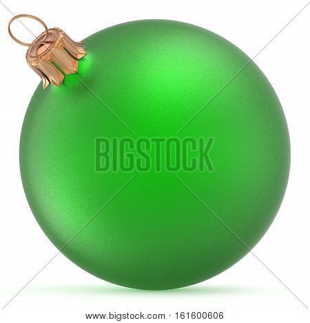 Christmas ball green wintertime ornament New Year's Eve hanging shiny sphere decoration adornment bauble souvenir. Traditional happy winter holidays Merry Xmas symbol closeup. 3d illustration isolated