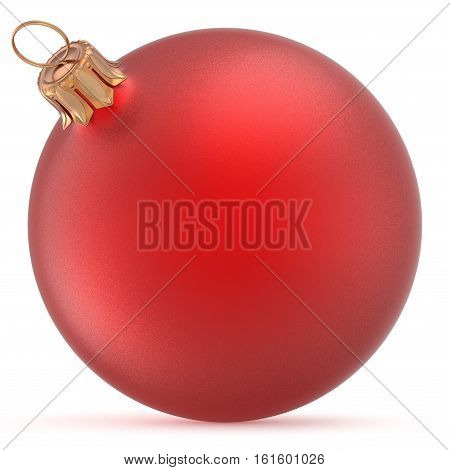 Christmas ball red wintertime ornament New Year's Eve hanging shiny sphere decoration adornment bauble souvenir. Traditional happy winter holidays Merry Xmas symbol closeup. 3d illustration isolated