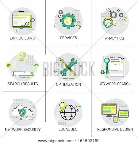Link Building Seo Keywording Search Network Security Services Icon Set Vector Illustration